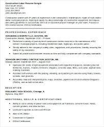 Resume For Construction Worker Sample Construction Worker Resume Resume Examples For Construction