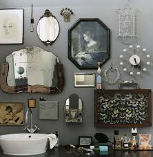 Retro Bathroom Idea With Grey Wall Paint Plus Completed Unique Ornament  Accessories Of Antique Mirror And