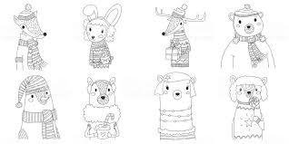 ベクトル クリスマス動物シルエット コレクション ライン アートの
