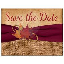 Red Save The Date Cards Photo Wedding Save The Date Card Autumn Leaves Faux Burlap Printed Wine Ribbon
