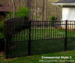 commercial aluminum fence with 24 inch high dog panel puppy pickets