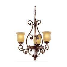 hampton bay freemont collection 3 light hanging antique bronze chandelier with glass shades