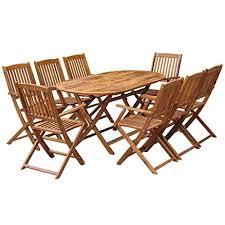 festnight 9 piece wooden outdoor patio