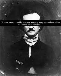 i was never insane except upon the occasion when my heart was i was never insane except upon the occasion when my heart was touched edgar allan poe it s okay to be slightly insane