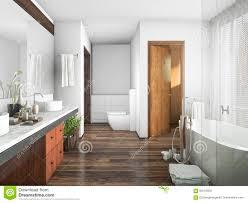 Holz Und Fliese Der Wiedergabe 3d Entwerfen Badezimmer Nahe Fenster