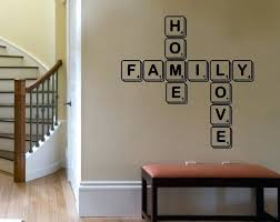 letter wall decor scrabble tiles vinyl wall decal wooden floor brown colored wall rectangular shape bench letter wall decor