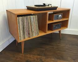 New mid century modern record player console, stereo cabinet with LP album