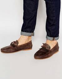 great asos brown leather now tassel loafers fringe