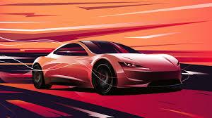 Wallpaper 4k Tesla Roadster Digital Art ...