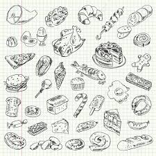 Food Calorie Book Freehand Drawing High Calorie Food On A Sheet Of Exercise Book