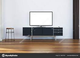 Tv Instellen Op Een Zwarte Kast In Woonkamer Stockfoto