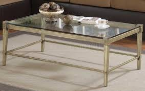 ... Coffee Table, Beautiful Golden And Clear Rectangle Simple Glass And  Metal Coffee Table Idea For ...