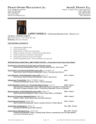 Professional Basketball Player Resume With Sports Management By Pt