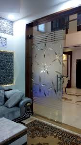 Glass Door Designs For Living Room Glass Fusion Design And Etching Living Room Partition