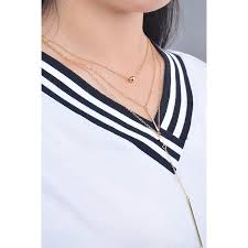 gold layered bead decor metal bar pendant simple necklace