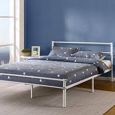 Zinus 12 Inch White Metal Platform Bed with Headboard and Footboard/Mattress Foundation, King