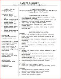 Sample Resume Career Summary