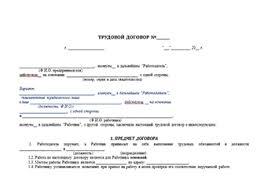 Образец трудового договора на испытательный срок с формой для  Как заполнить трудовой договор на испытательный срок