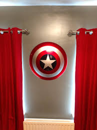 today i wall mounted my captain america shield in the bedroom