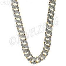 mens iced out gold silver glitter cuban chain necklace