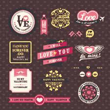 retro valentines day labels vector set 02