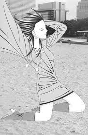 浜辺で髪をなびかせかわいい女の子イラスト 仲堂 里嶺 男の子