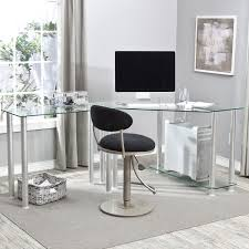 l shaped glasetal computer desk which mixed with rounded black velvet swivel chair