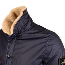 stone island navy mussola gommata fur collar jacket