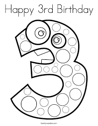 Small Picture Number 3 Coloring Pages Twisty Noodle