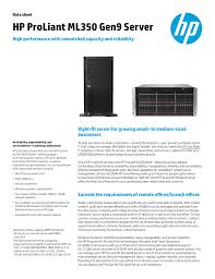 Hp Proliant Ml350 Gen9 Server High Performance With