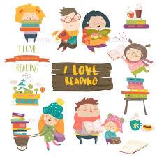 set of cartoon children reading books miscellaneous vectors