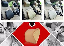 1pcs neck support pillow leather memory cotto car pillow headrest n car neck support lumbar back support cushion car seat cover