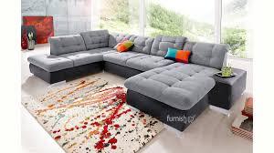 layefa modern u shaped sofa set in fabric and leather combo