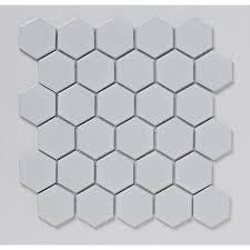50mm hexagon porcelain white mosaic 300x300