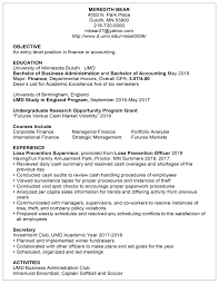 Resume Examples Career Internship Services Umn Duluth