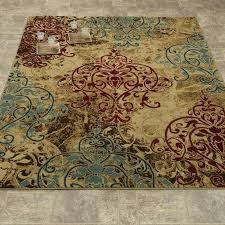 bright design teal and red area rug 8