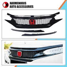 Start date feb 7, 2016; China Modified Black Front Grille For Honda New Civic 2016 2018 China Civic Honda
