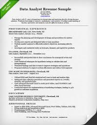 Data Analyst Resume Sample Musiccityspiritsandcocktail Com