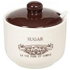 <b>Сахарница керамическая</b>, <b>520 мл</b>, с крышкой Кафе HC293-N2 в ...
