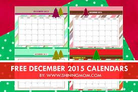 December 2015 Calendars Christmas Themed Designs