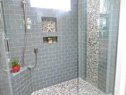 gray subway tile light bathroom backsplash dark cabinets glass