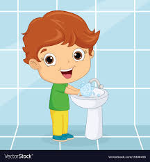 of a kid washing hands vector image