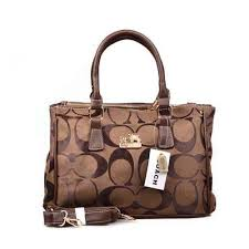 Coach In Signature Medium Coffee Satchels DOJ