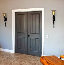 grey stained door with white trim doors and white trim but