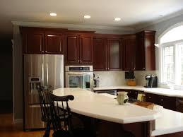Yellow Kitchen Backsplash Brick Walls Cherry Cabinet Kitchens Brown Oak Wooden Kitchen