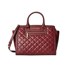 Michael Kors Selma Zip Quilt medium Satchel Claret Leather