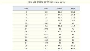 Bridal Size Chart Mori Lee Bridal Size Chart 7th Avenue Fashions