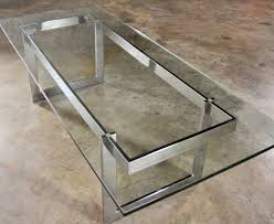 sold vintage mid century modern milo baughman style chrome glass coffee table