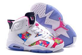 jordan shoes for girls 2014 pink. 2017 girls air jordan 6 (vi) retro gs white black pink leather flower print for sale shoes 2014 d
