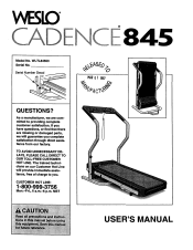 weslo cadence 845 treadmill manual weslo cadence 845 treadmill english manual